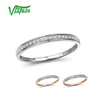 VISTOSO Genuine 14K White/Yellow/Rose Gold Rings For Lady Shiny Diamond Engagement Anniversary Simple Style Eternal Fine Jewelry(China)