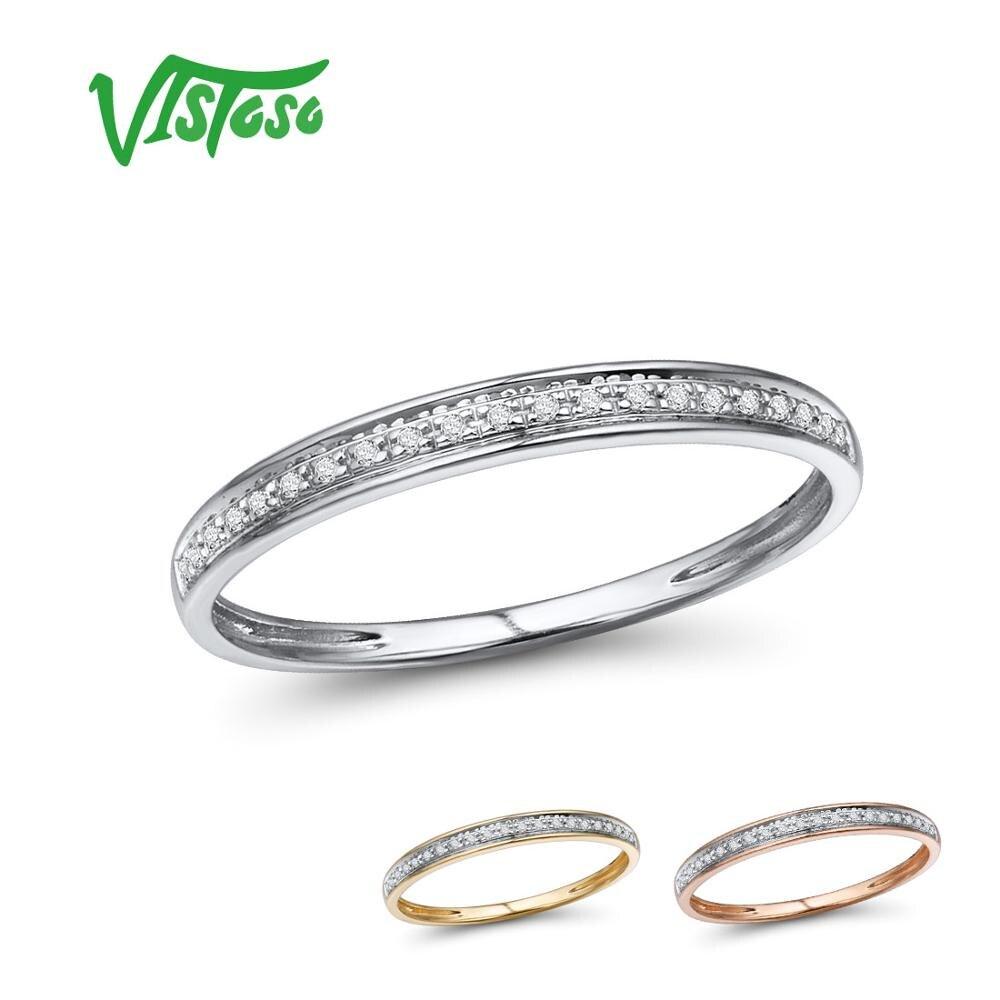 VISTOSO véritable 14 K blanc/jaune/Rose anneaux en or pour dame brillant diamant fiançailles anniversaire Simple Style éternel bijoux fins