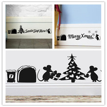 Lovely Mouse Hole Christmas Santa home decal wall sticker adesivo de parede for wedding decoration kitchen