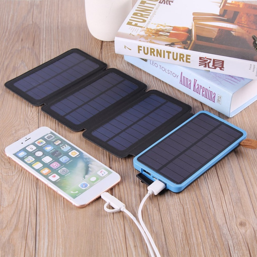Solar Powerbank Battery 30000mah Waterproof Three Fold Power bank Portable Charger Power Source With Camping Light for CellPhone cncool solar power bank waterproof 20000mah solar charger 2 usb ports external charger powerbank with led light 18650 battery