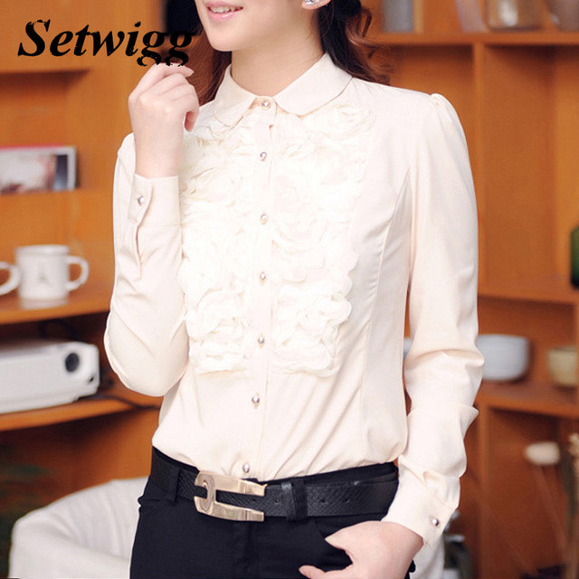 SETWIGG Spring Female Cute Appliqued Long Sleeve Chiffon Shirt Peter-pan Collar Lace Floral Single-breasted Solid Blouse