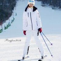 Зимний лыжный костюм женский 2018 высокое качество Лыжная куртка + брюки Снежный теплый непромокаемый ветрозащитный лыжный Сноубординг женс