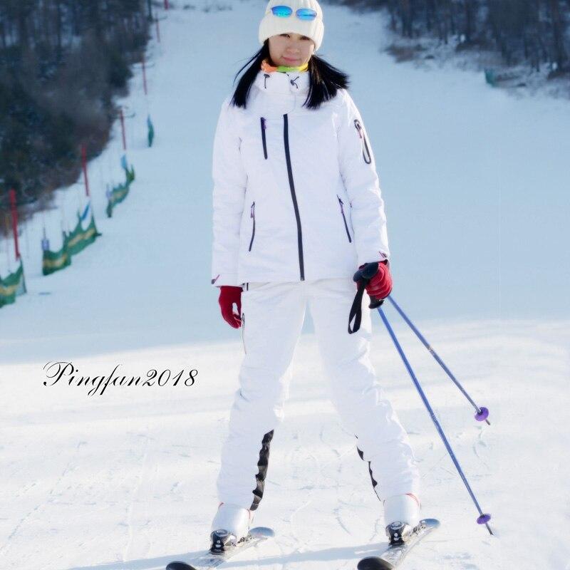 Inverno terno de esqui dos homens e das mulheres de alta qualidade jaqueta de esqui + calças neve quente à prova dwindproof água à prova vento snowboard ternos de esqui feminino