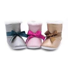 Warm Prewalker Boots PU Leather Newborn Unisex-Baby Faux Fleece Shoes Premium Soft Sole Bow Toddler Boy Girl First Walker Bootie