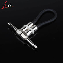 6Pcs/lot ELEMENT 6.35mm Guitar Pedal Effect Patch Cable 15cm Silver Right Angle Plug Cord Effect Pedal Instrument