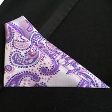 QXY mens fashion pocket square men woven tie handkerchief designer purple paisley polyester silk hanky F036
