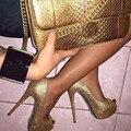 SHOFOO sapatos, moda novidade frete grátis, luz dourada pano, 12, 5 cm de salto alto, peep toe pumps. TAMANHO: 34-45