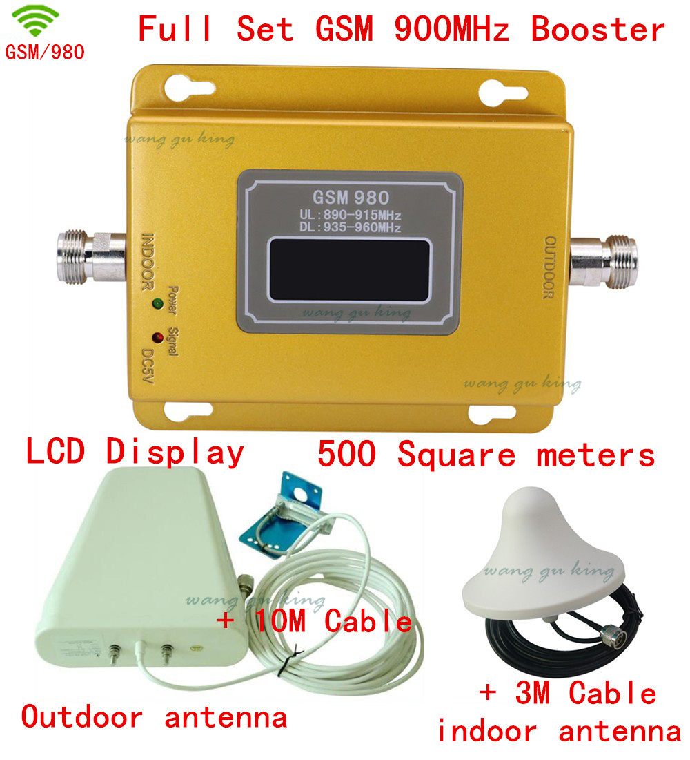 Full Set Top Quality LCD GSM 900MHZ Mobile Signal Booster GSM,Phone Signal Repeater GSM 900,gsm Signal Amplifier,coverage 500m2
