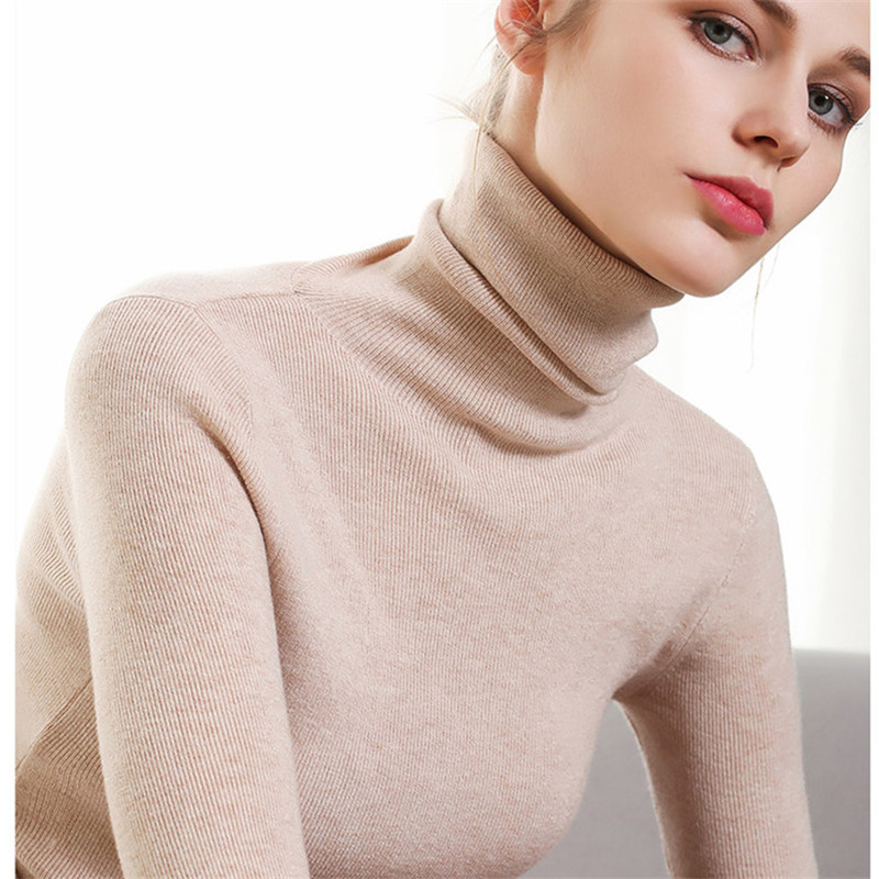 Casual Turtleneck Slim Knitted Sweater Pullover Women Autumn Winter Fashion Solid Pull Femme Jumpers Long Sleeve Sueter Mujer