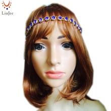 LiuJee KD074 Kundan stones head band hair jewelry Matha patti prom wedding bridal prom birthday boho bollywood elastic headband