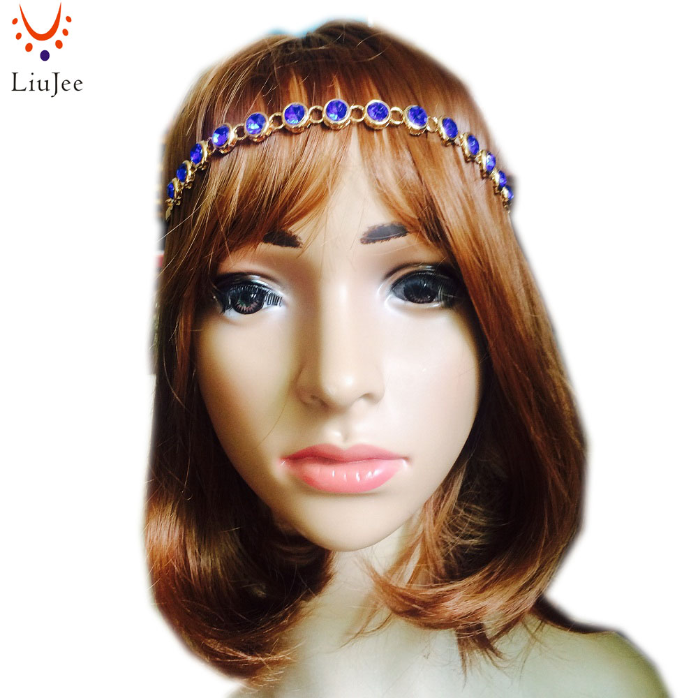 LiuJee KD074 Kundan stones head band hair jewelry Matha patti prom wedding bridal prom birthday boho