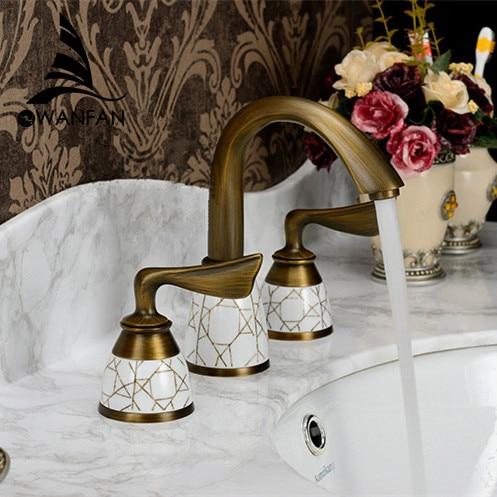 Brass Antique Deck Mount Dual Handles Basin Swivel Faucet 3pcs Bathroom Lavatory Washbasin Vessel Sink Mixer Tap KZ-388Q antique brass swivel spout dual cross handles kitchen