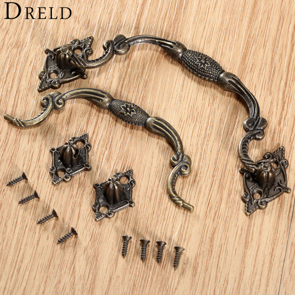 DRELD Antique Furniture Handles Cabinet Knobs and Handles Drawer Cabinet Door Pull Cupboard Kitchen Handle Furniture Fittings vintage furniture handles cabinet knobs and handles zinc alloy cupboard handles drawer wardrobe pull handles furniture fittings