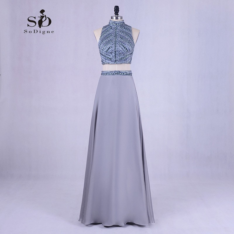 Evening party dress Grey 2018 Prom Dresses A-Line Crystals and Beads Backless Graduation Dresses Long Elegant Prom mom