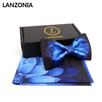 Lanzonia Men's Wedding Blue Flower Print Satin Bowtie and Handkerchief Bow Tie Set