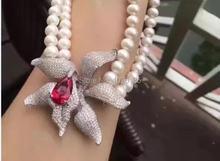 2 строки белый жемчуг пресноводных рядом круглый и красный цветок ожерелье 20-22 дюймов оптовая бисер