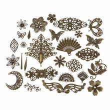 Metal Iron 10Pcs Lot Gold Bronze Rhodium Connector Earring Accessories Retro Pattern Hollow Pendent DIY jewelry hairpins sticks cheap Diy Earrings Findings Jewelry Findings Connectors BJT08 0 7g