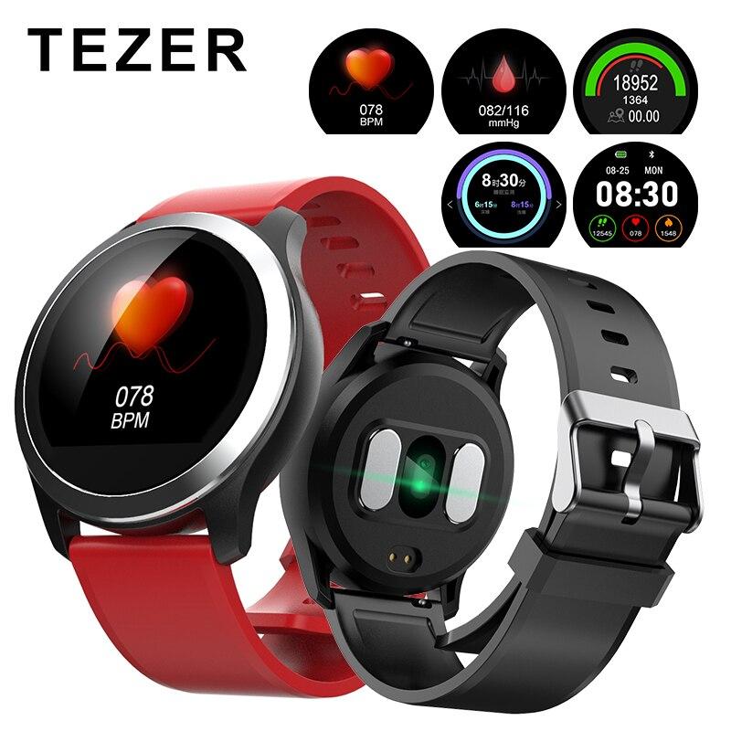 Tezer Z03 PPG smart watch com ecg electrocardiógrafo ECG display, pressão arterial holter ecg monitor de freqüência cardíaca smartwatch