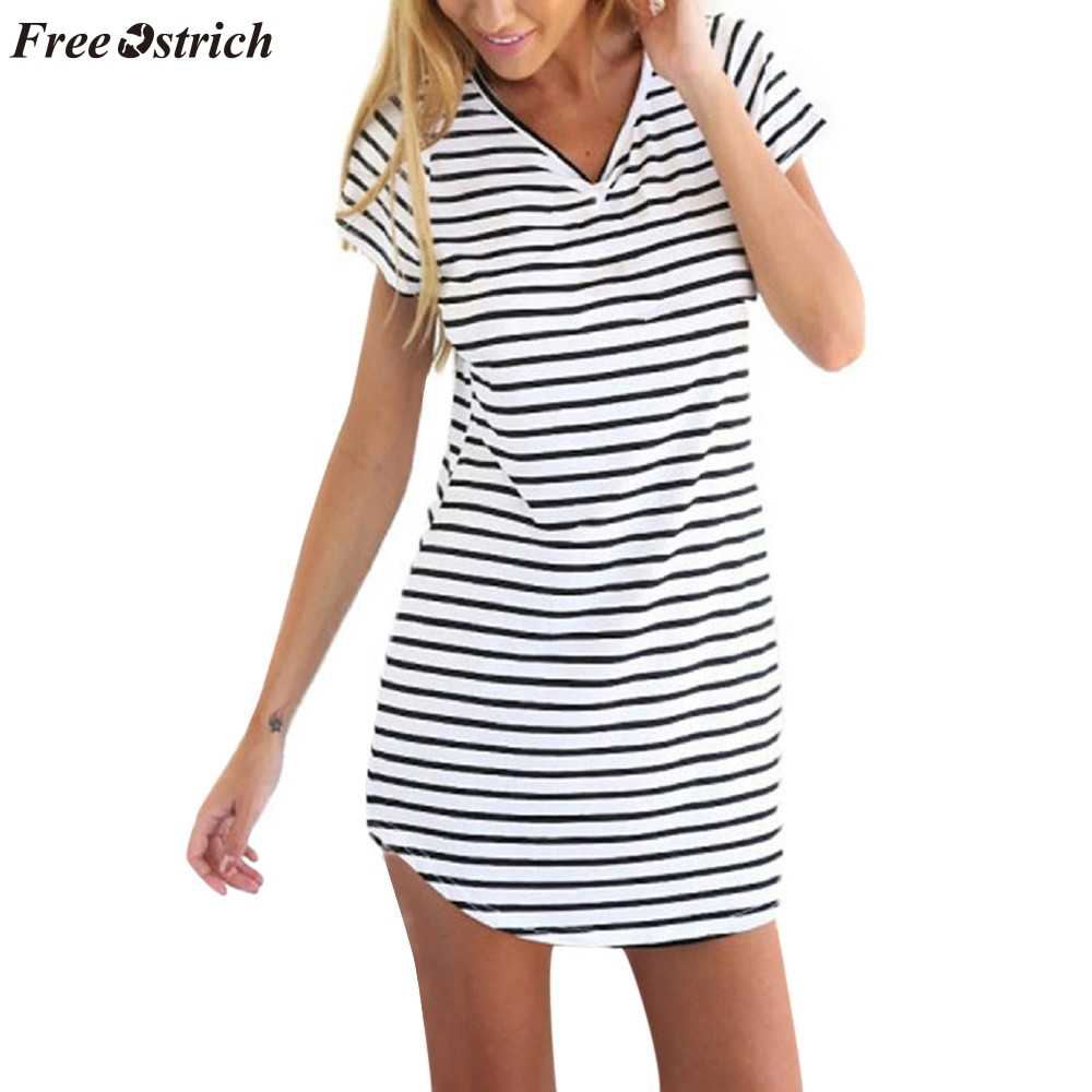 FREE OSTRICH New women's short-sleeved striped loose T-shirt mini dress European and American striped sea soul swallowtail dress