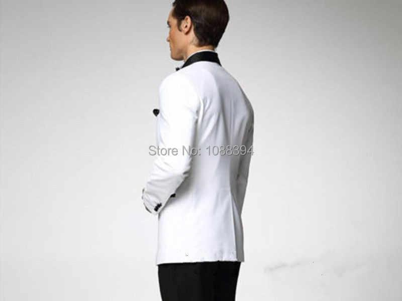 2018男性の結婚式のタキシード白ジャケット黒ラペル結婚式のスーツカスタム最高の男のスーツ新郎タキシード(ジャケット+パンツ+弓)