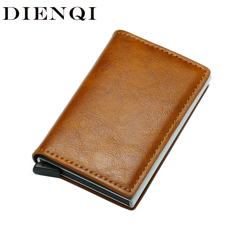 DIENQI Top Quality Wallet Men Money Bag Mini Purse Male Vintage Automatical Aluminium Rfid Card Holder Wallet Small Smart Wallet(China)