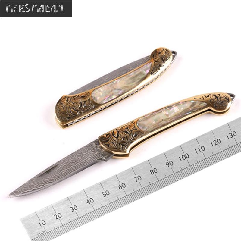 新しいスタイルハンドルシェル純粋な手動ダマスカスナイフパターン鋼折りたたみナイフ屋外ツール自己防衛ナイフ