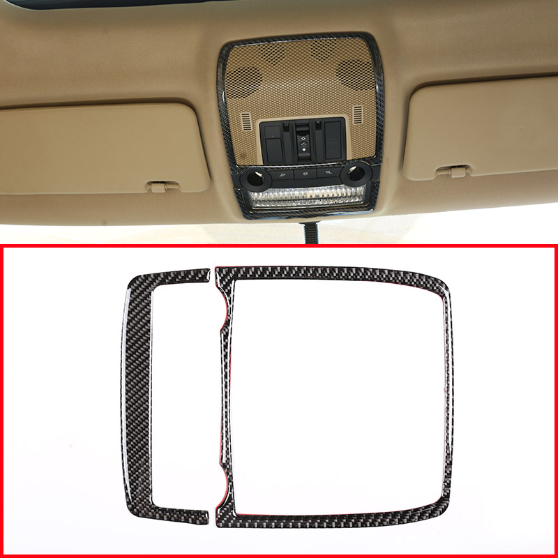 Real Carbon Fiber Car Front Row Reading Lamp Frame <font><b>Trim</b></font> Sticker For <font><b>BMW</b></font> X5 <font><b>E70</b></font> X6 E71 2008-2013 Accessories image