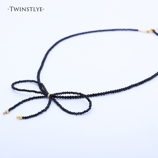 S925 Sterling Silver Necklace Women's Necklace Natural Black sweet Bowknot Necklace Ultra Short Necklace Anti-allergic for girl