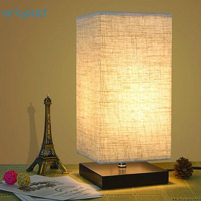 Artpad Japanischen Tatami Stil Einfache Tisch Lampen Mit Stoff Lampe  Schatten E27 Studie Nacht Stehend Lampe