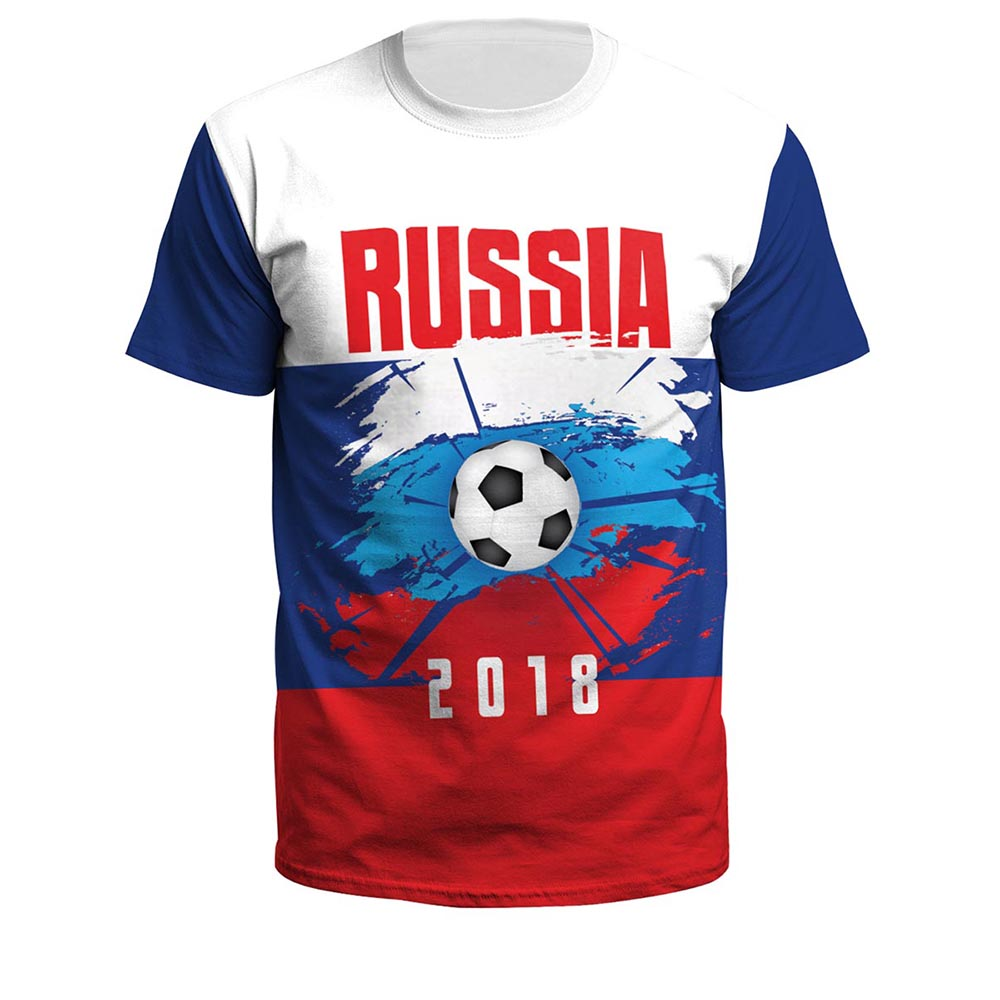 2018 Russia World Cup Cheering Fans Men's T shirts Men Summer Jersey Tops Russia Team T shirt Football Jersey Pullover Plus Size