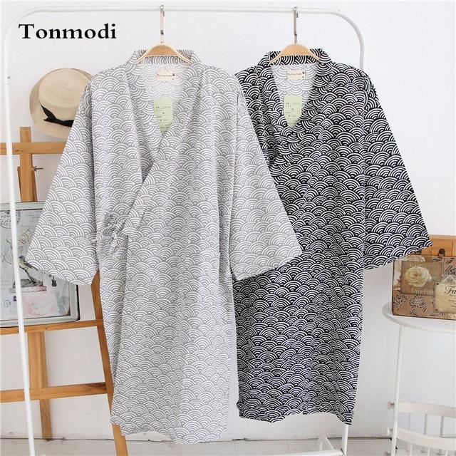 Kimono Robes Men Cotton Woven Double Layer Gauze Kimono Nightgown Bathrobe Long Robe Sleepwear Lounge Nightshirt