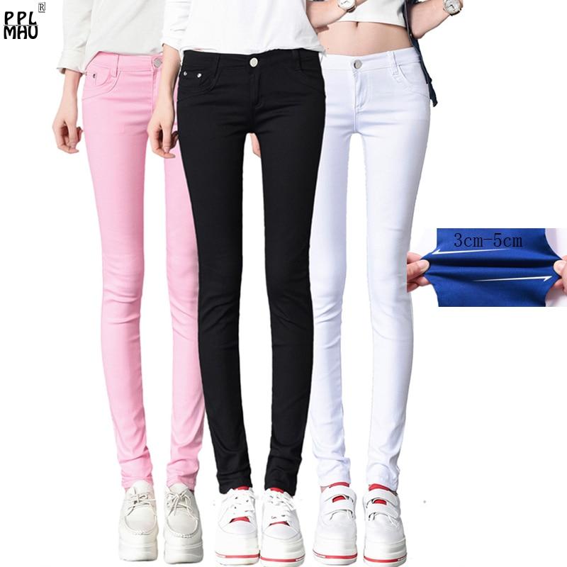 Street Fashion Mom Plus Size Skinny Jeans Casual Candy Color Denim Trousers Women Slim Waist Denim Jeans Straight Pencil Jeans