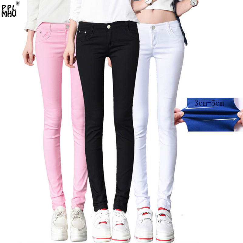 Street Fashion Mom Plus size skinny   Jeans   Casual candy color Denim Trousers Women slim waist denim   jeans   straight pencil   jeans