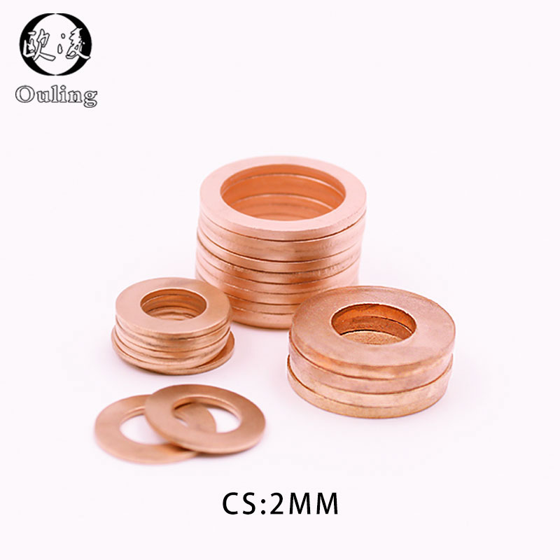 5Pcs DIN7603 M6 M8 M10 M12 M14 M16 M18 M20 T3 O Ring Gasket Sealing Ring Copper Washer Boat Crush Washer Flat Seal Ring Fitting image