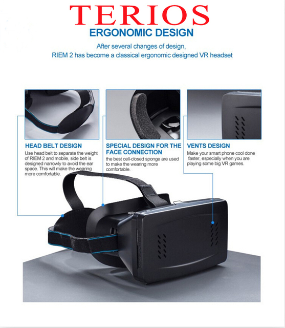 7c8dc635209 15 New terios 2 Google Cardboard Virtual Reality VR Mobile Phone 3D Glasses  for Cell Phone Screen Google VR 3D Glasses