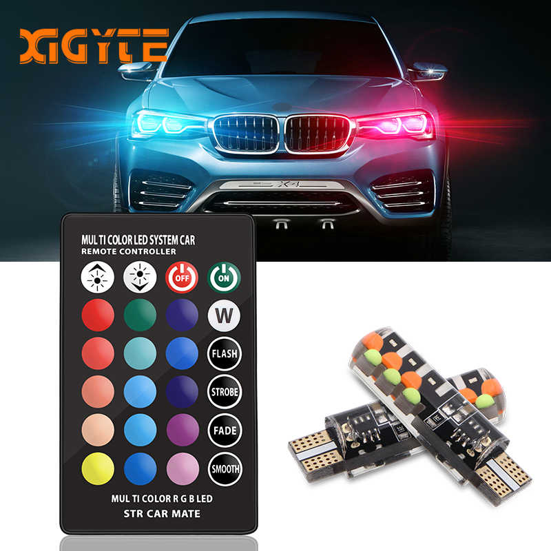 Car LED T10 RGB W5W LED Car Clearance Lights 194 168 Bulb Remote Width Interior Lighting for Brake Reading Dome License Lights