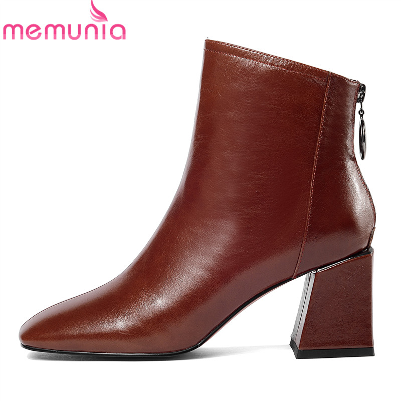 MEMUNIA 2018 top quality genuine leather ankle boots for women square toe autumn winter boots solid colors high heels shoes memunia solid two colors ankle boots for women winter boots low square heels zip fashion contracted boots party shoes