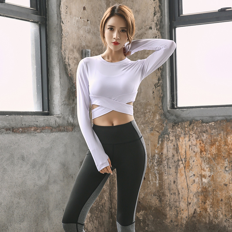 <+>  Селена Фанни женские футболки для йоги с длинным рукавом спортивная топ тренировки фитнес работает ф ★