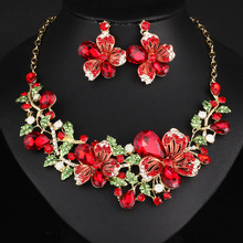 Multicolor Crystal Rhinestone Flower Necklace Earrings Set for Women Wedding Luxury Bridal Jewelry sets chic rhinestone petal flower necklace for women
