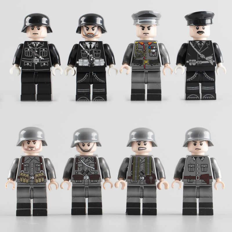 WW2 Soldados Do Exército Militar Building Blocks brinquedos MOC Alemanha Soldados Do Exército Oficiais figuras DIY Blocos Tijolos Brinquedos para As Crianças