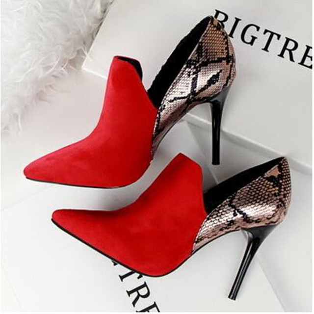 Fashion Wedding Shoes Pumps Women Patchwork Snake Skin Pointed Toe High  Heels Shoes Zapatos Mujer Chaussure Femme Red Black Grey 7c7b3f2a2aba