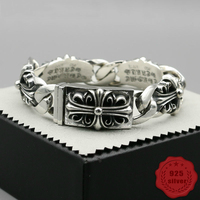 925 sterling silver bracelet personality fashion classic punk style street dance domineering cross around shape gift 2018 new