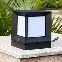 Nuevo Moderna lámpara de pilar de caja cuadrada minimalista resistente al agua para exteriores jardín aleación de