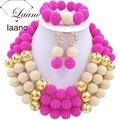 2017 Новый нигерийские свадебные африканские бусы ювелирные наборы фуксия розовый золото пластиковые жемчужина мяч ожерелье для женщин ABF230