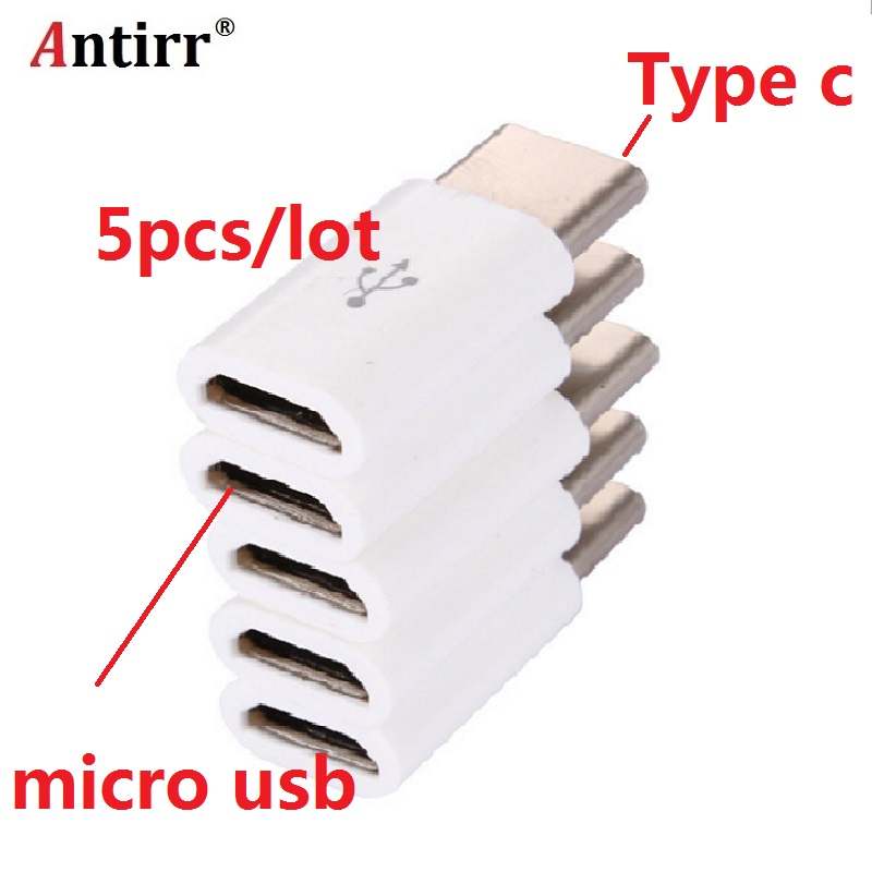 5pcs/lot USB 3.1 Type C Male to Micro USB Female Adapter Type-C Converter Connector USB-C black and white цены
