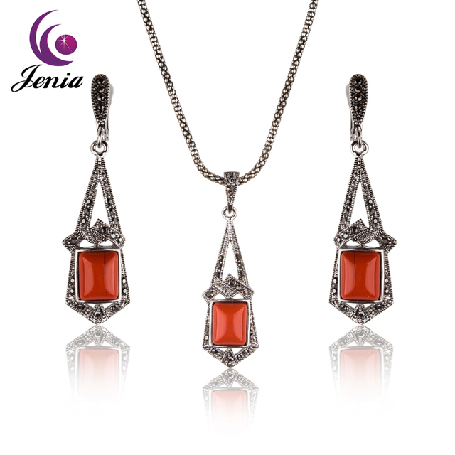 Jenia brand new square orange stone chandelier design jewelry set jenia brand new square orange stone chandelier design jewelry set thai silver color marcasite earrings and aloadofball Image collections