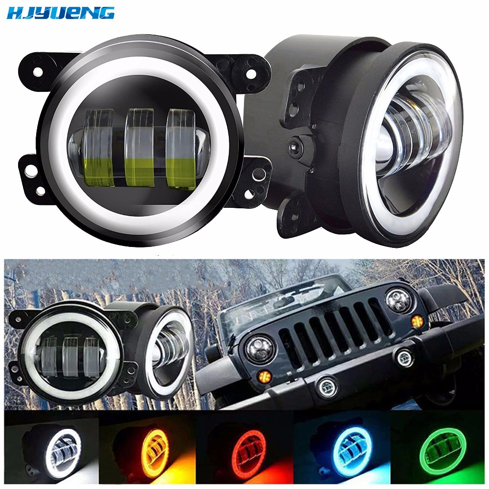 HJYUENG 30w 4Inch Round Led Fog Lights White Halo Ring DRL Off Road Fog Lamps For Jeep Wrangler JK TJ LJ Dodge Journey 4 inch 60w led fog lights w white halo ring drl for jeep wrangler 97 15 jk tj lj off road fog lamps
