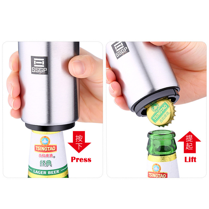 Stainless Automatic Beer Bottle Opener w Magnetic Cap Catcher Kitchen Tool