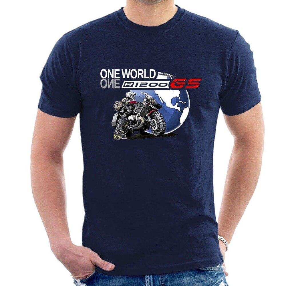 2019 mais novo masculino engraçado um mundo gs r1200 camiseta motocicleta aventura inspirado todos os tamanhos t t legal