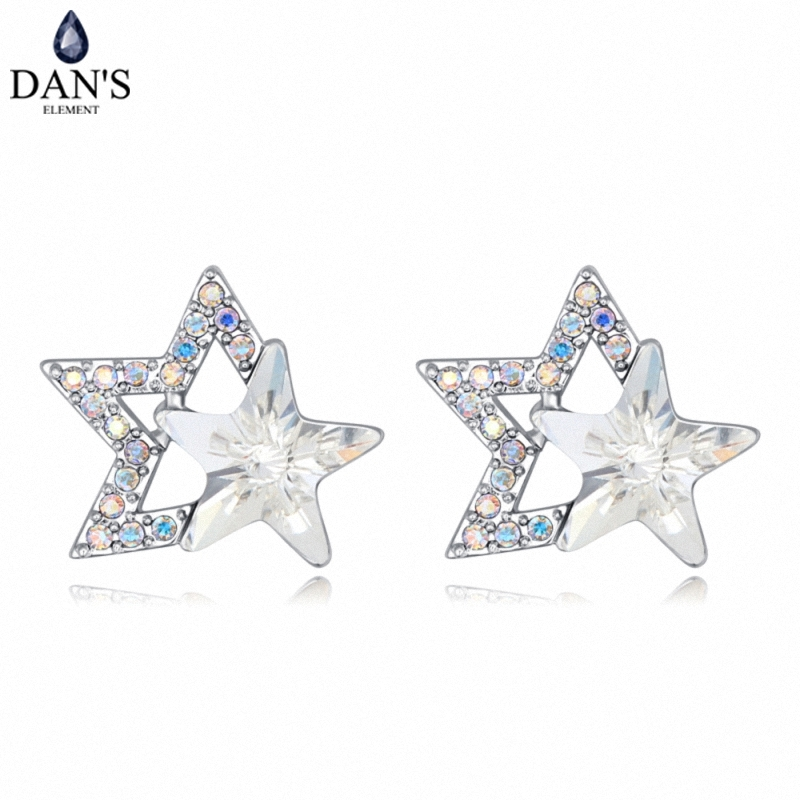 DANS 4 Colors Real Austrian crystals Stud earrings for women Earrings s New Sale Hot Round 127971